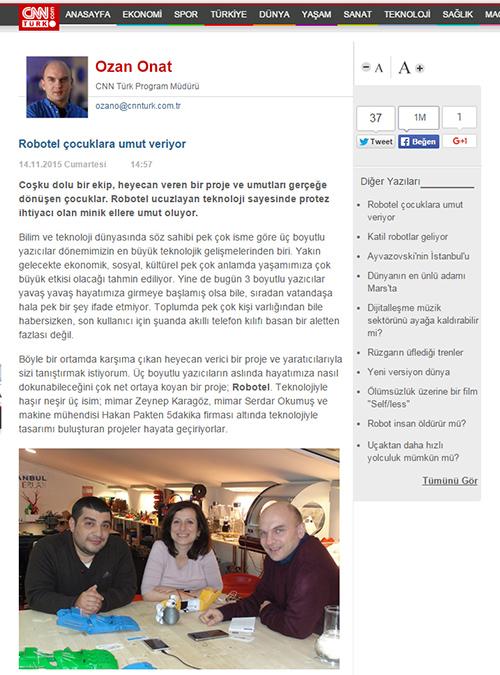CNN Türk Robotel Türkiye Yazısı
