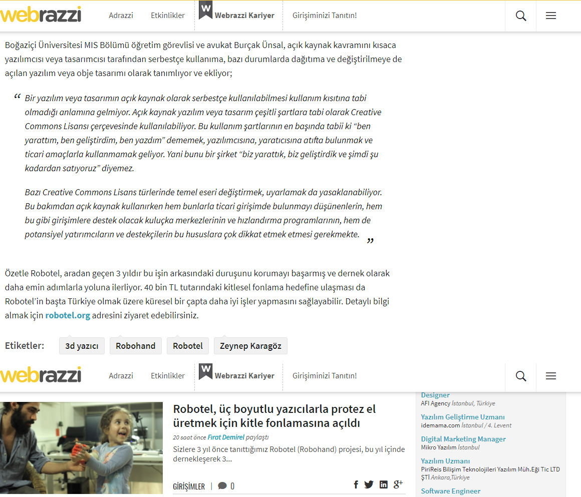 Robotel Webrazzi'de!