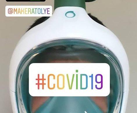 Ürettiğimiz #3dprint maske parçaları dalış maskeleri ile sağlık personeli tarafından koruma amaçlı kullanımda test ediliyor.