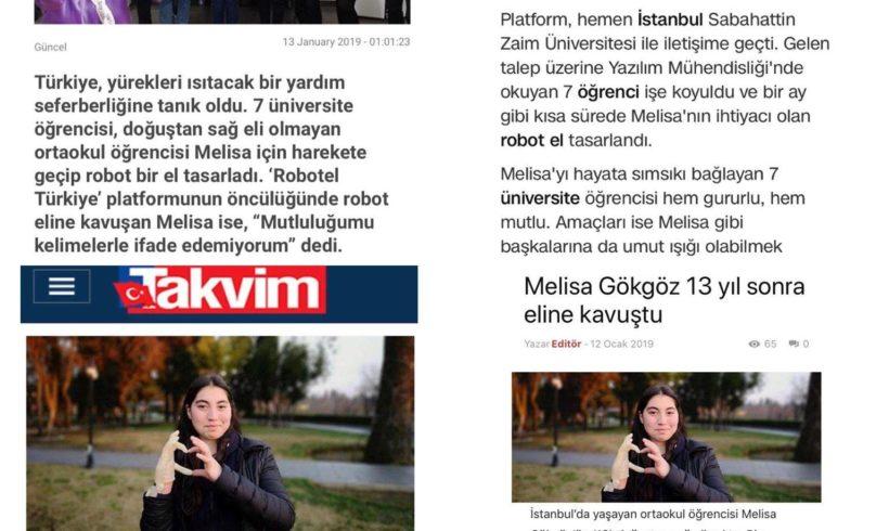 İstanbul Sabahattin Zaim Üniversitesi IEEE ekibini Melisa kardeşimiz için yaptıkları basında