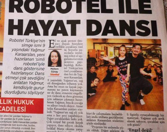 """Milliyet gazetesindeyiz Yağmur'u başarı hikayelerini okumayı unutmayınız. Asla pes etme!"""" #Robotel ile #Dans"""